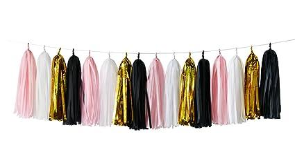 e37863534 Amazon.com  16 pcs White Pink Black Gold Tissue Paper Tassel Garland ...