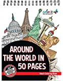 ColorIt - Around The World In 50 Pages: Cities Adult Coloring Book Features 50 Original Hand Drawn Coloring Pages for Men and Women
