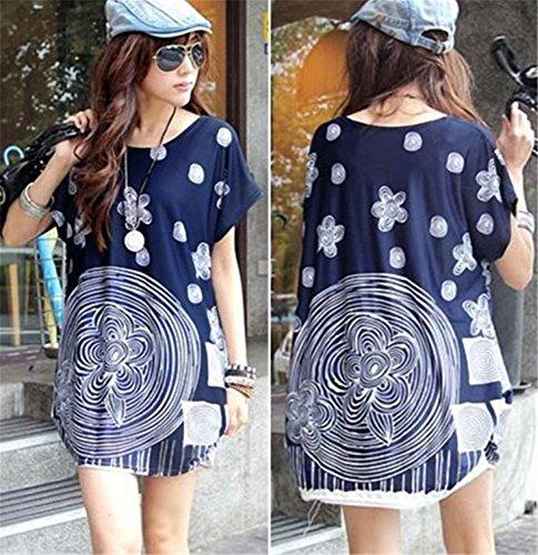 Fashion Streetwear Floral Cap Sleeve T-Shirt Tunic Dress Blouse Top Blue