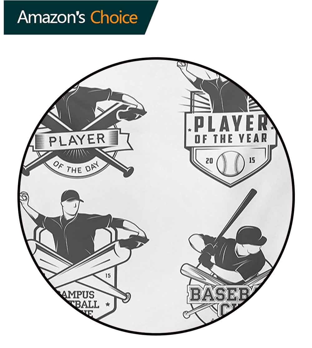 RUGSMAT Sports Machine Washable Round Bath Mat,Vintage Baseball and Softball Labels with Championship Winner Victory Theme Non-Slip No-Shedding Bedroom Soft Floor Mat,Diameter-71 Inch