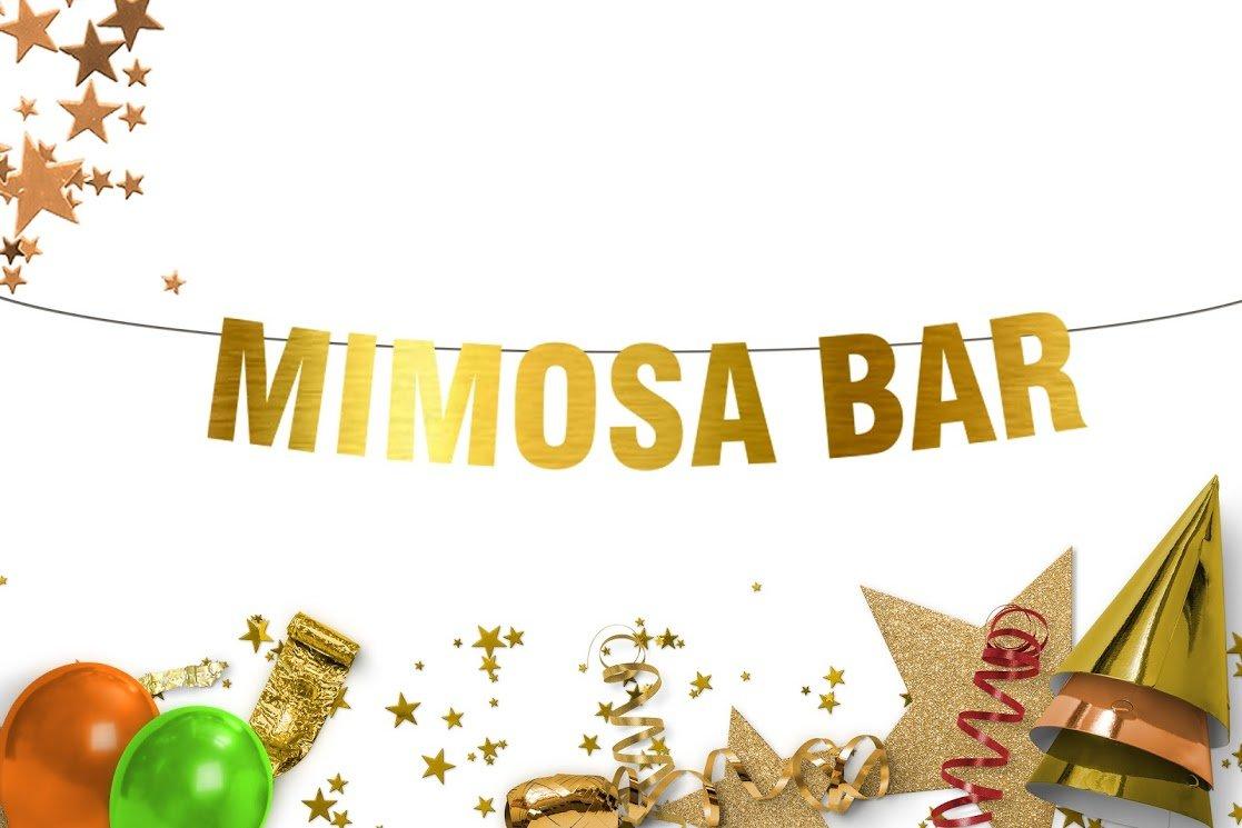 Mimosa Bar Party Banner - Gold banner - bachelorette party - bridal shower decor - breakfast brunch - Mimosa Bar - Funny banner - bachelorette party decorations - bridal shower - Party Supplies