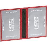 LEAS Ausweismappe- & -hülle mit 2 Sichtfenstern Echt-Leder, rot/cherry Card-Collection