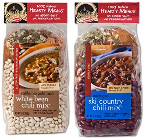 Frontier Soups Hearty Meals Chili 2 Flavor Variety Pack: (1) Michigan Ski Country Chili Mix and (1) California Gold Rush White Bean Chili Mix (2 Bags Total)