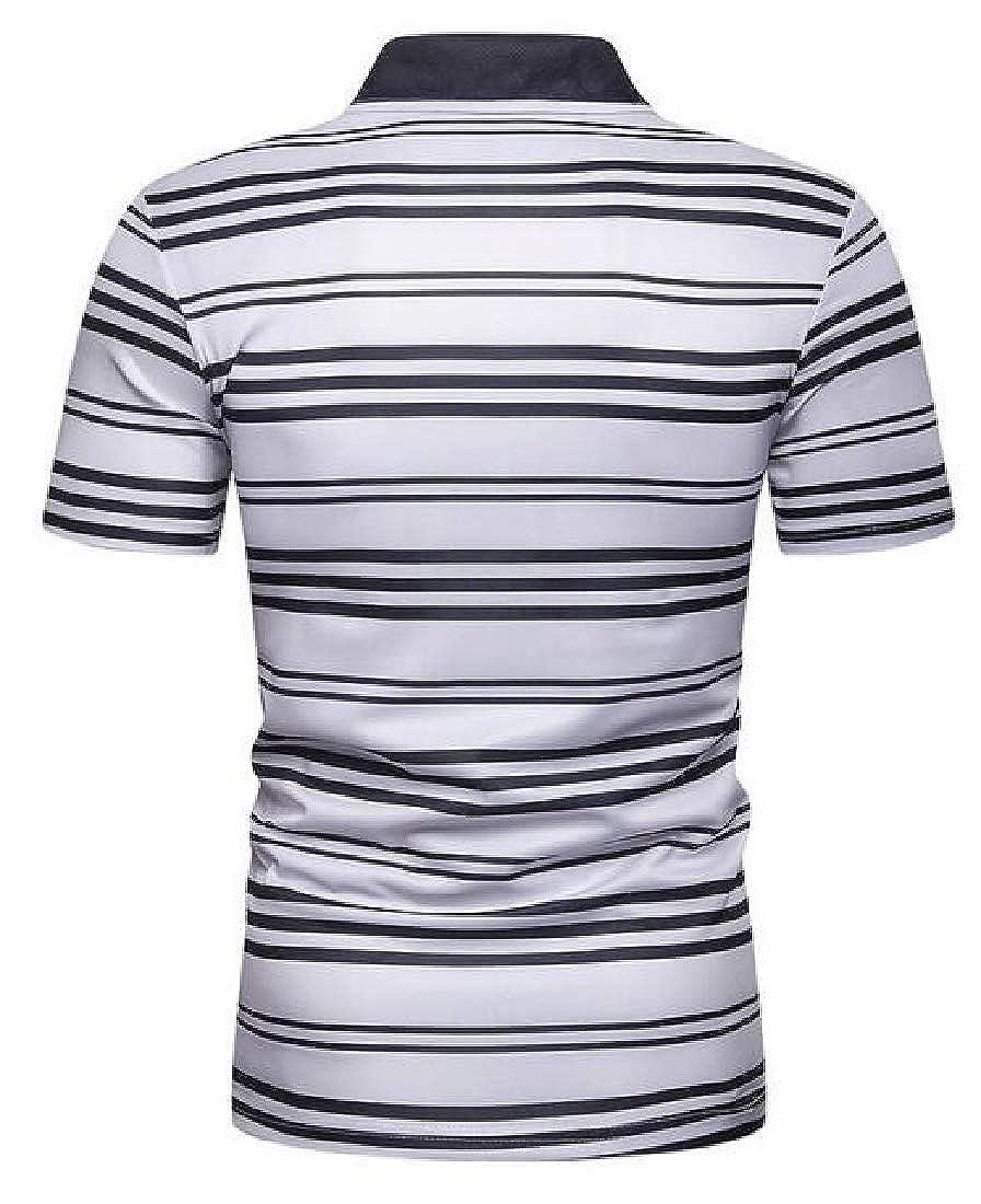 Wofupowga Men Classic Fit Lapel Stripe Business Short Sleeve Printed Polo Shirt
