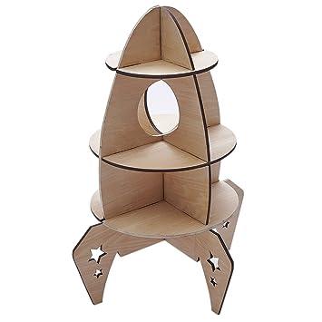 Baoblaze DIY Holzregal Holz Aufbewahrungsregal Bücherregal Deko Für  Kinderzimmer   Rakete