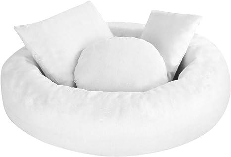Borlai almohada de donut y 3 almohadas posando blanco blanco Talla:1~3 Months Juego de 4 piezas de accesorios para fotograf/ía de reci/én nacido