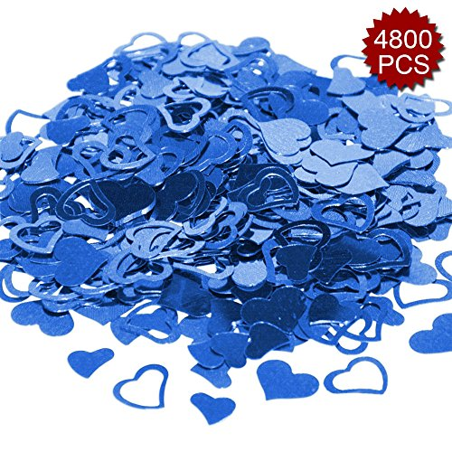 Aspire 4800PCS Heart Table Confetti Party Supply, Glitter Colorful Anniversary Wedding Decoration-Blue