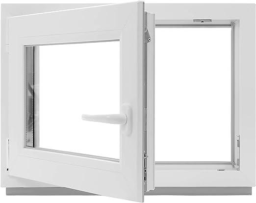 innen wei/ß//au/ßen anthrazit DIN Rechts 60 mm Profil Fenster 800 x 500 mm Kunststoff Kellerfenster 3 fach Verglasung BxH: 80 x 50 cm
