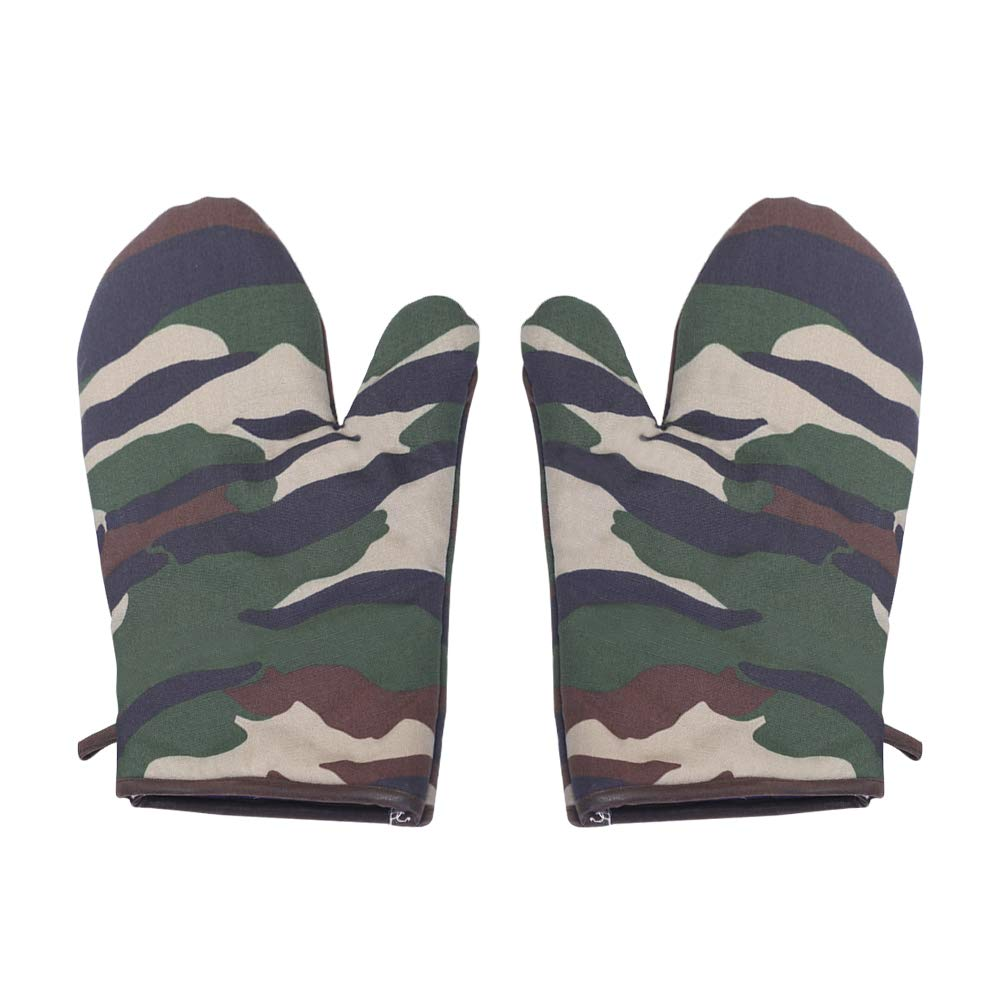 Sanxian Three First Oven Mitts with Quilted Cotton Lining and Non-Slip Grip - Heat Resistant Kitchen Pot Holders Camouflage Gloves – 1 Pair