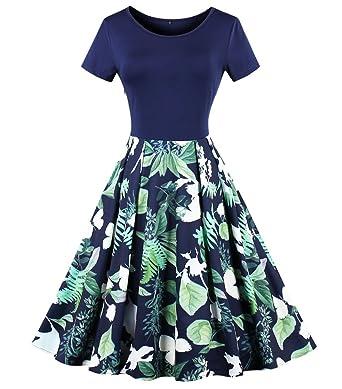 Aecibzo Women Vintage 1950s Retro Rockabilly Prom Dresses Short Sleeve - Blue -