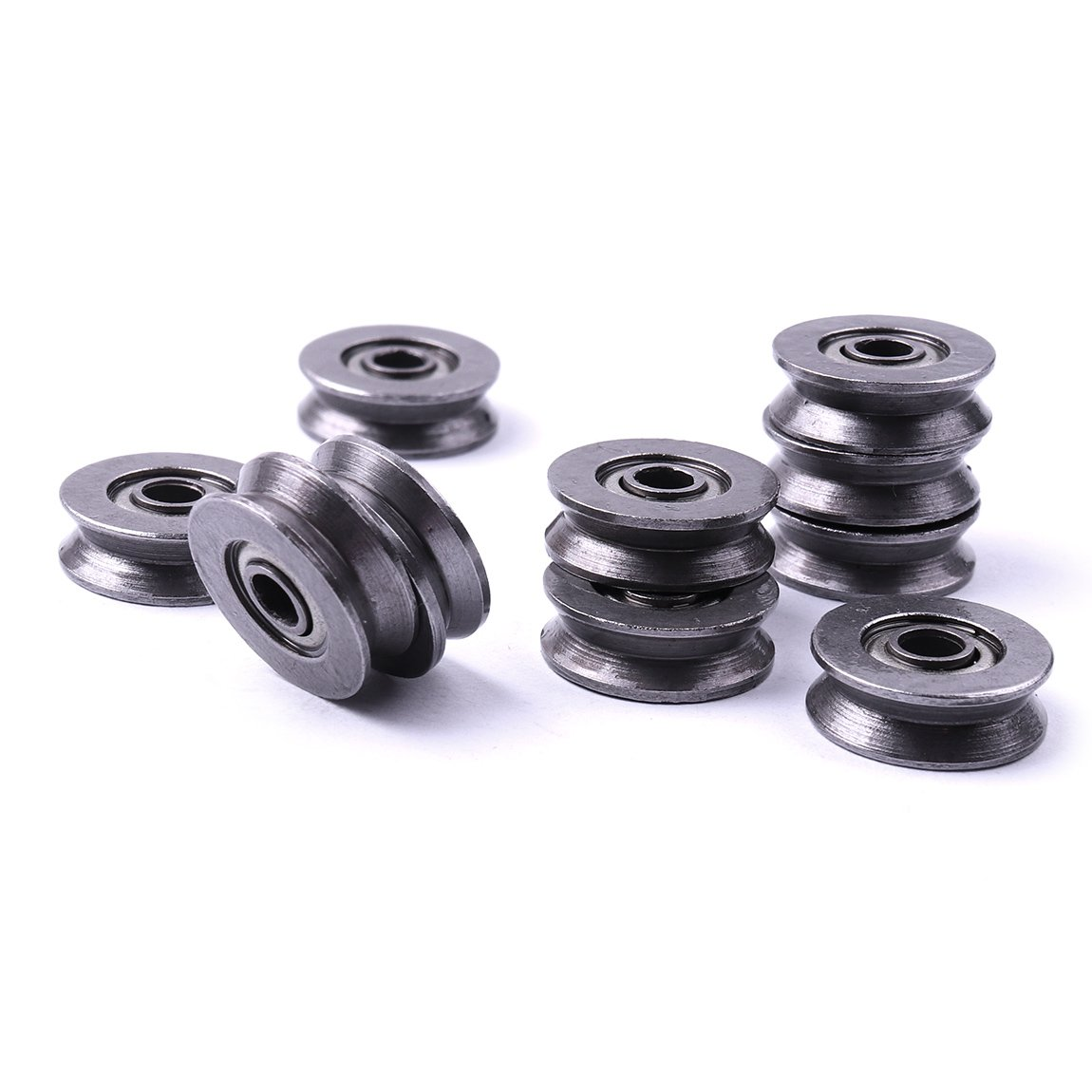 Atoplee 20pcs High Carbon Steel Wire V Groove Pulley Bearing 3x12x4mm