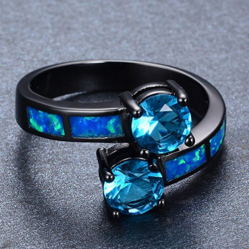 BPR-Ring Light Blue Zircon Ring For Female Male Black Gold Filled Wedding Blue Fire Opal Ring Anel Best Friend (Ring 10k Zircon)