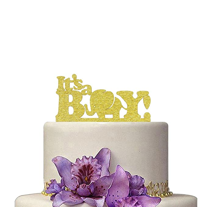 Amazon.com: It\'s A Boy Cake Topper Acrylic Elephant Baby Shower Baby ...