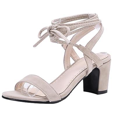 TAOFFEN Damen Schnurung Sandalen Sommer Schuhe Absatz  Beige-1