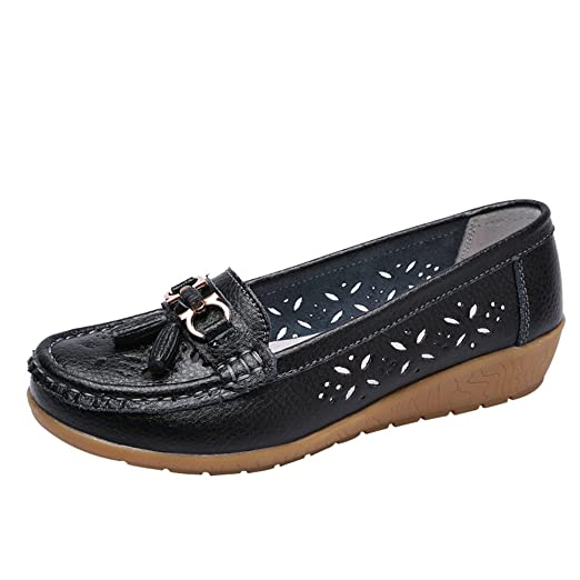 Aurorax-Shoes Womens Girl Leather Loafers Casual Wedges Round Toe Breathable Moccasins Walking Shoes Size