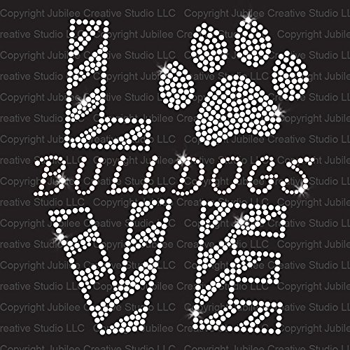 Love Bulldogs Clear Iron On Rhinestone Crystal T-Shirt Transfer by JCS Rhinestones ()
