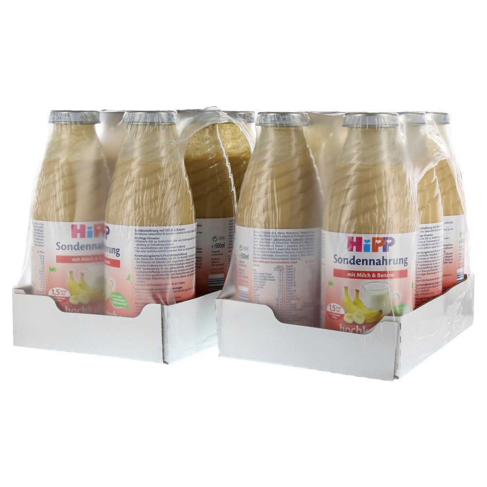 HIPP Trink- und Sondennahrung - Milch mit Banane - 500 ml - 750 kcal - Weithals - 12 Flaschen - 1 Karton