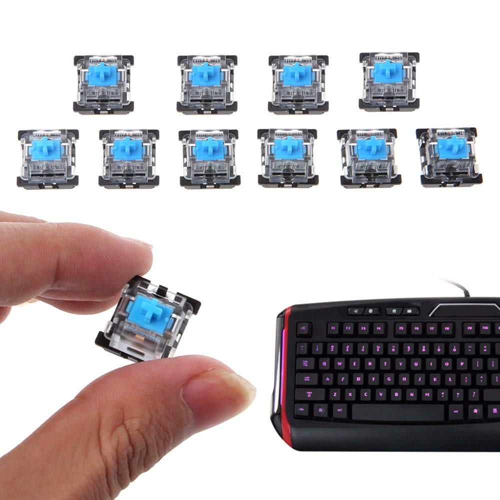 HEASEN 10Pcs KeyCaps 3 Pin Dust-Proof Mechanical Switches for Gateron for Cherry MX Keyboard Tester Kit Keyboard Accessories Blue