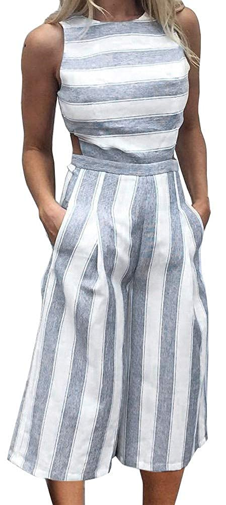 bb4c77367dbb Amazon.com  FANCYINN Women Stripe Print Sleeveless Zipper Back Long  Jumpsuit Romper Casual Style  Clothing