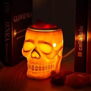 STAR MOON Ceramic Skull Wax Warmer Scentsy Wax Melter for Home Decor,No Flame No Smoke No Soot Two Bulbs Packed- Resurgent Skull