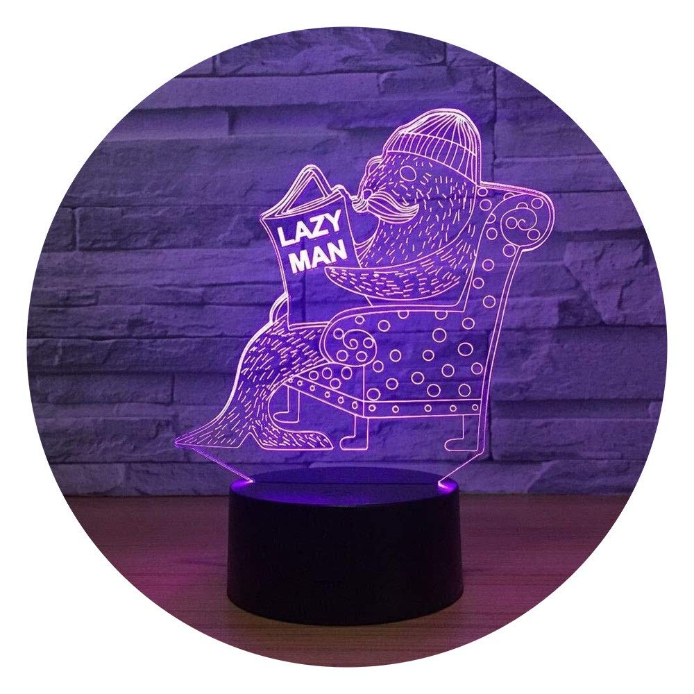 JINXUXIONGDI Visual Stereo Vision 3D Night Light Seal Vision Night Light Touch Switch USB Light Cute 7 Color Transform 3D Light Luminaria Interesting Gift for Lazy Children's Decoration