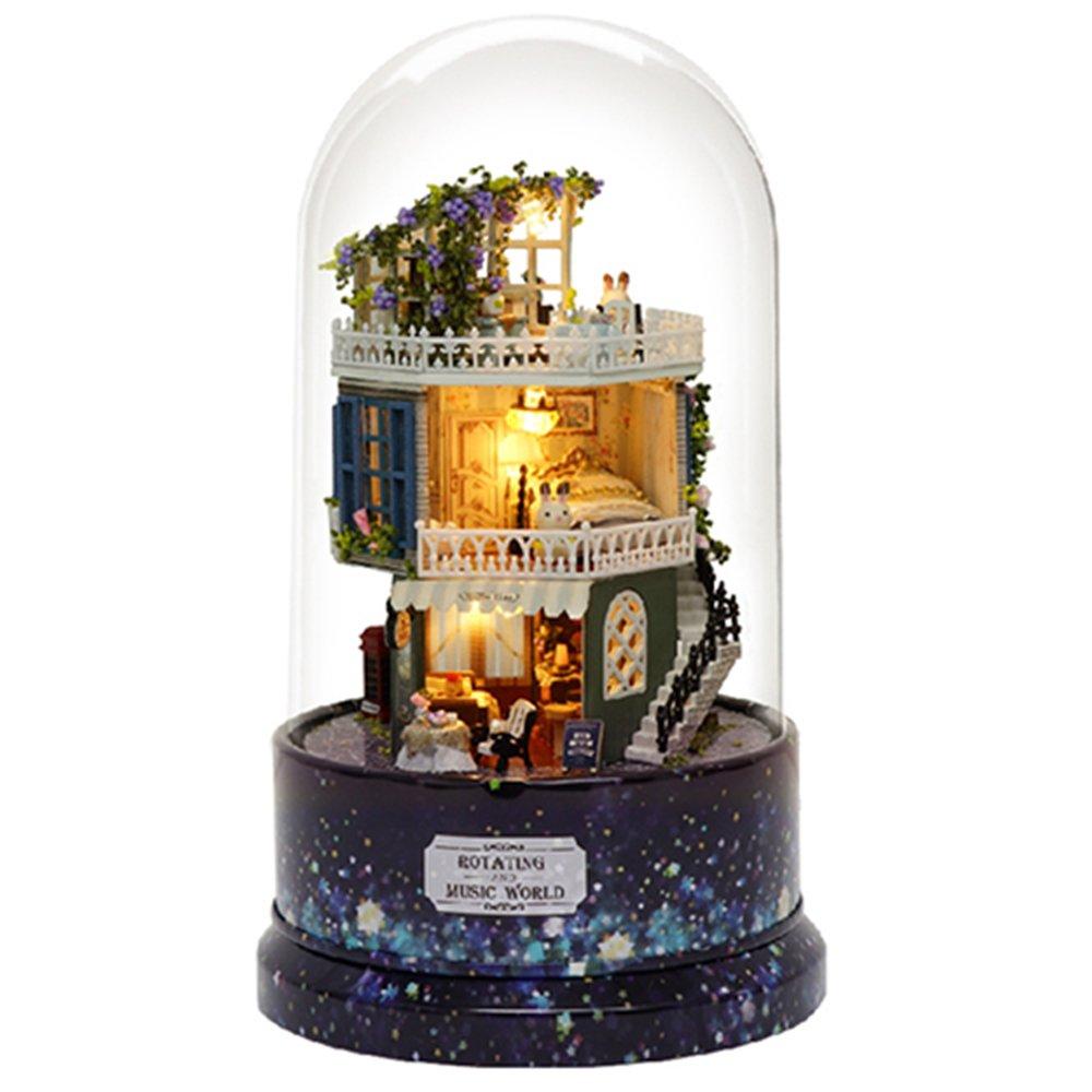 Cutebee Dollhouse Miniature with Furniture,Rotating DIY Miniature Dollhouse kit Plus Dust Proof and Music Movement, 1:24 Scale Creative Room Idea (Star Dream)