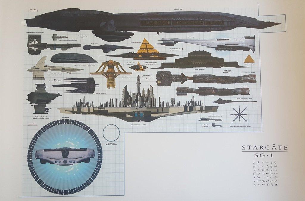 Stargate SG-1 Ship Comparison Asgard, Ori, Wraith, Goauld, Atlantis 11 x 17 Inch Poster Litho