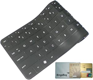 """BingoBuy Black Silicone Keyboard Protector Skin Cover for Lenovo IdeaPad Y480, Y480p, Y470, Y410p, Y400, Y40, Z410, Z480, Z485, Z480, Z470, Z465, Z460A, Z460, Z380A, Z370, Z360, Z40, G410, G485, G480, G475, G470, G40, V485, V480, V470, Flex 14, Flex 2 (14 inch)(if your """"enter"""" key looks like """"7"""", our skin can't fit) with BingoBuy Card Case for Credit, Bank, ID Card"""