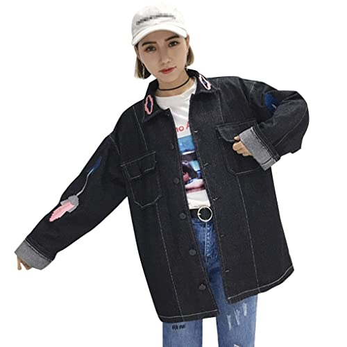 KOROWA La chaqueta de las mujeres del otoño borda la capa de mezclilla ocasional de manga larga Outw...