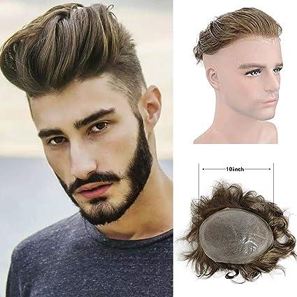 Toupee de piel fina para hombre, sistema de cabello humano ...