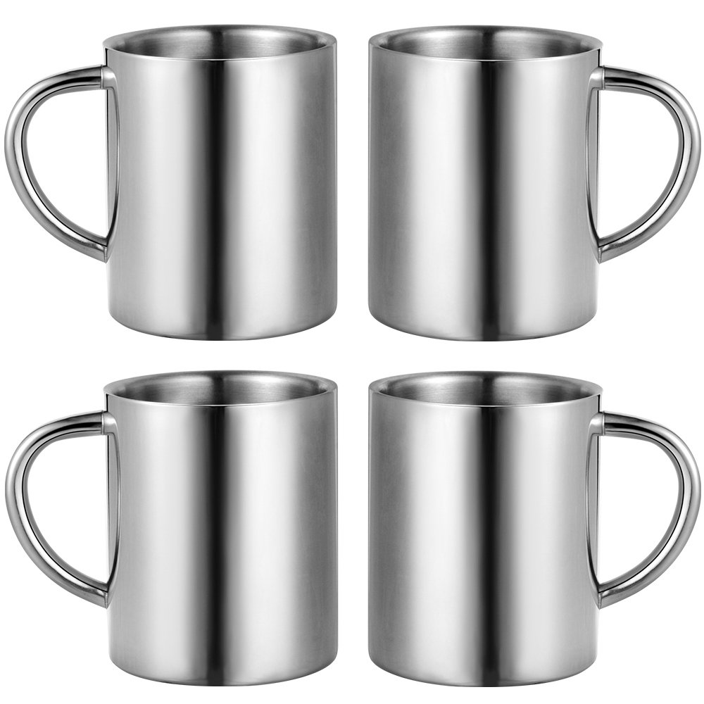 WeHome Stainless Steel Teacups Espresso Coffee Mugs Double Walled Drinking Cups Set for Home Office Outdoor Traveling Camping,Set of 4