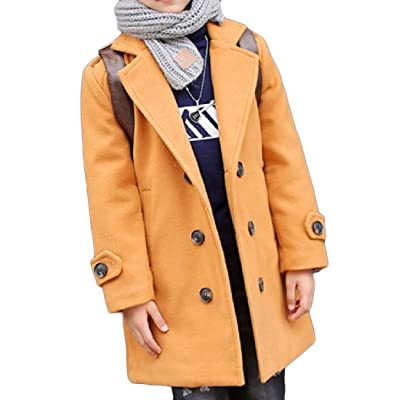 Abetteric Boys Winter Thick Casual Longline Double Breasted Peacoat