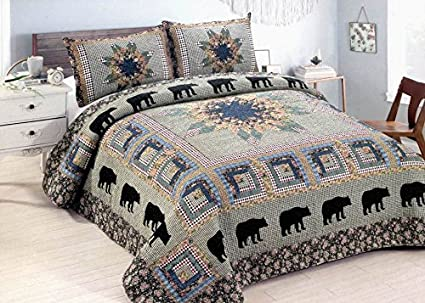 Black bear forest 3 piece queen quilt bedding set includes quilt and 2 standard