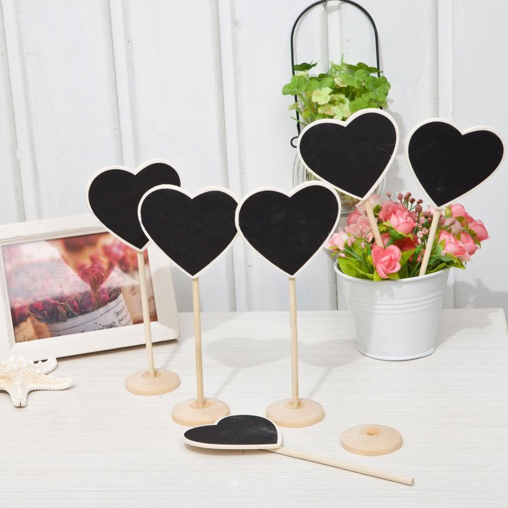 12 Mini Heart Chalkboard Blackboard with Stand Wedding Party Table ...