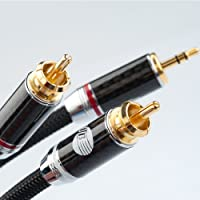 德国蟒蛇JIB HC-010 发烧音频线 3.5mm分2RCA音频信号线 电脑连功放音频信号线 (1.0米, 黑色)