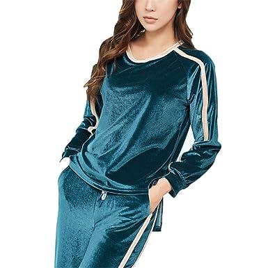 b31bad110 LeeQn Autumn Winter Women Fashion Casual Loose Gold Velvet Pajamas Suit  Nightclothes Green M