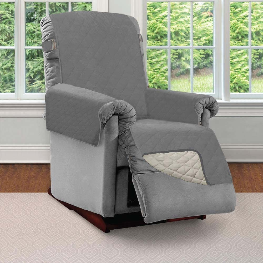 SOFA SHIELD Original Patent Pending Reversible Small Recliner Protector, Seat Width to 25 Inch, Furniture Slipcover, 2 Inch Strap, Reclining Chair Slip Cover Throw for Pets, Recliner, Charcoal Linen