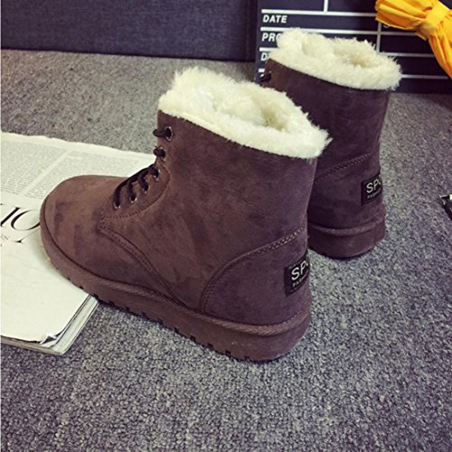 Snow Coffee Warm Fashion Boot Lined Boots Womens Flat Lace Women Shoes Up Winter Clode® Ankle Fur xZBnqfnOU