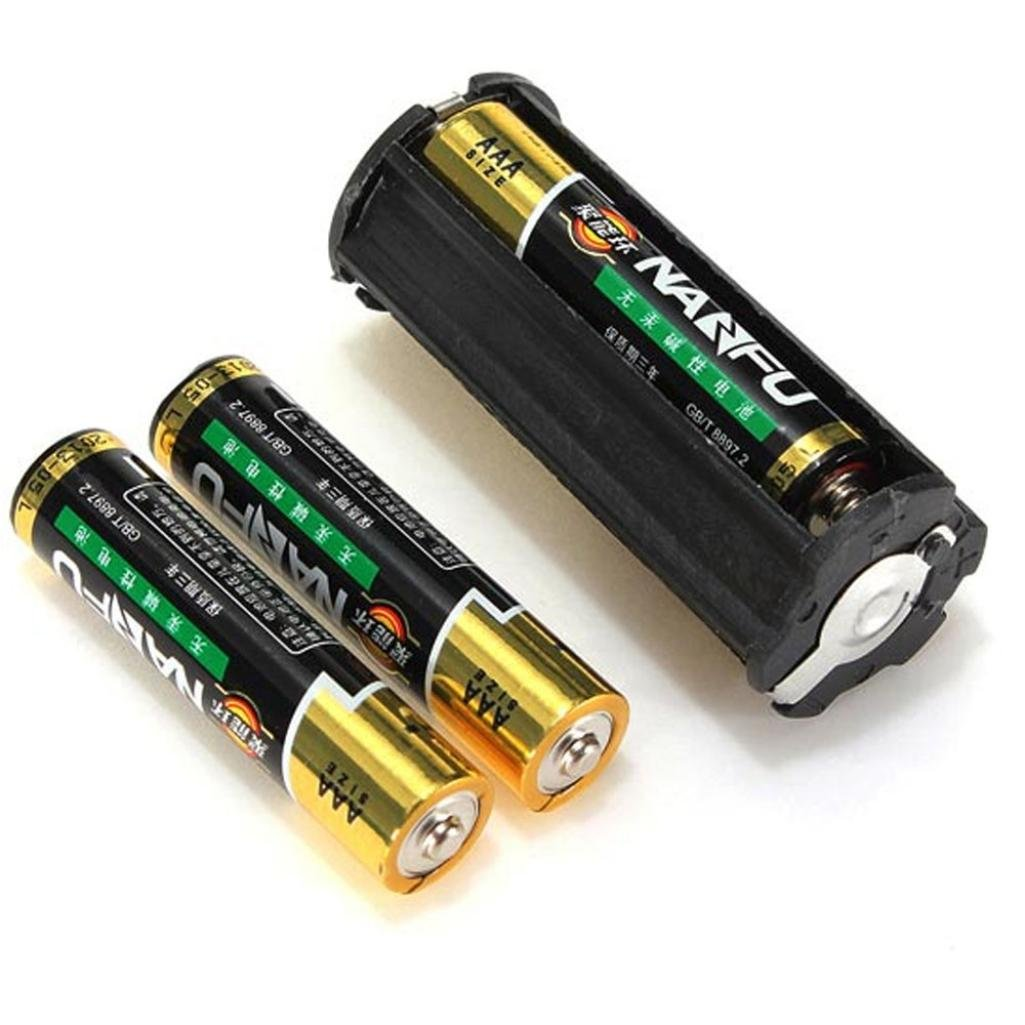 Portapilas Malloom 1 PC negro 3 AAA bater/ía pl/ástica soporte adaptador caso caja cil/índrica para la l/ámpara linterna antorcha negro