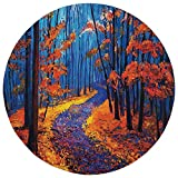 Round Rug Mat Carpet,Country Decor,Dark and Deep in the Forest in Fall Autumn Season Silence Calm Magical Nature Art Paint,Orange Navy,Flannel Microfiber Non-slip Soft Absorbent,for Kitchen Floor Bath