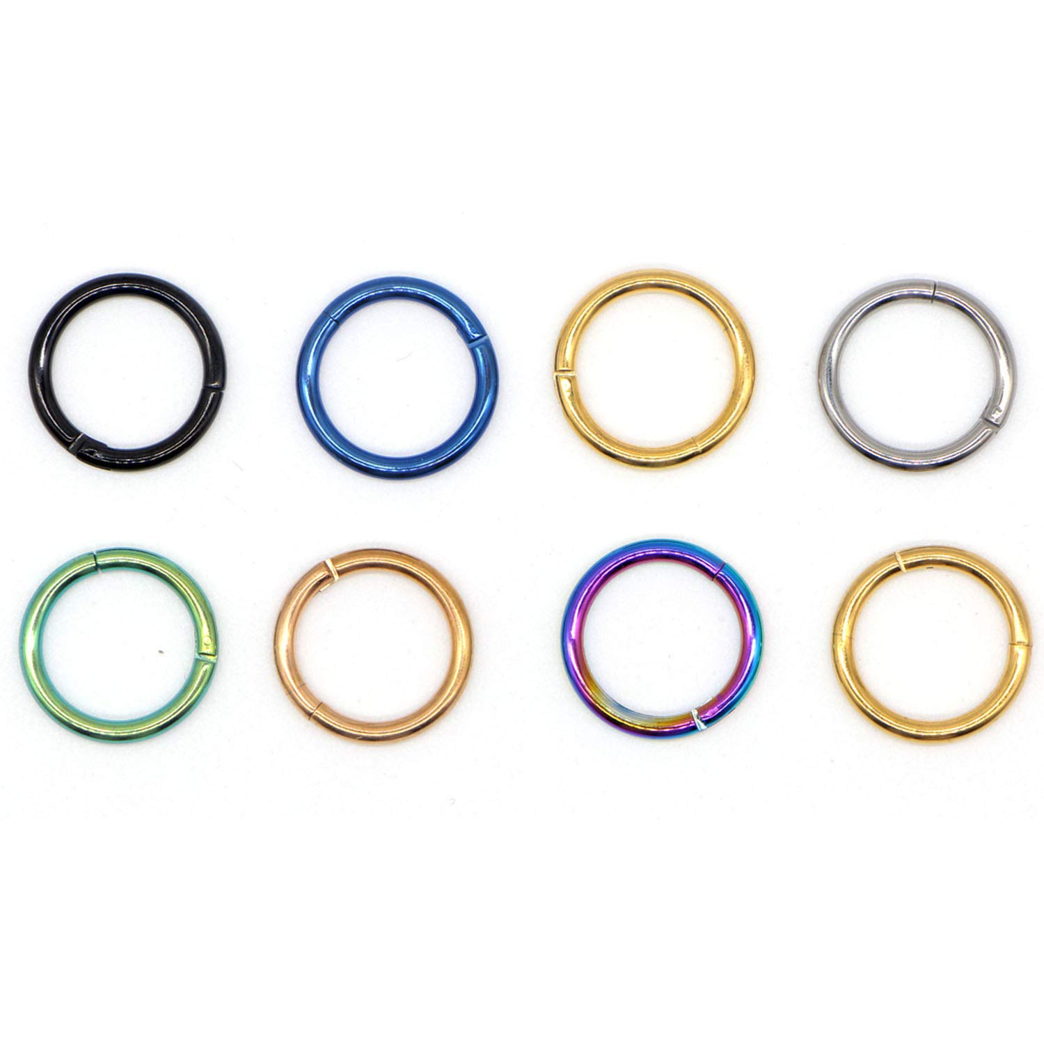 1Pc Steel Tiny Nostril Segment Nose Rings Ear Nose Hoop Piercings Clip On Rings,14G Length 8Mm,Colorful