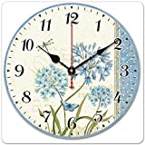 HI GIRL Wood Wall Clock, 12 inches Retro Style Non Ticking Silent Quartz Decorative Wall Clock Room Kitchen