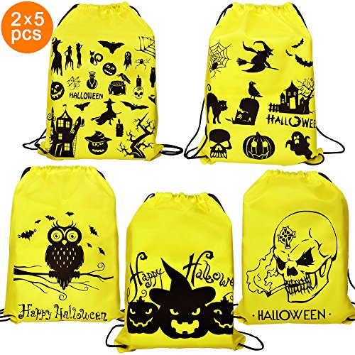 Halloween Goody Bags - 10 Pack Drawstring Trick or Treat Bags Backpack for Kids Party (Owl Halloween Treat Bags)