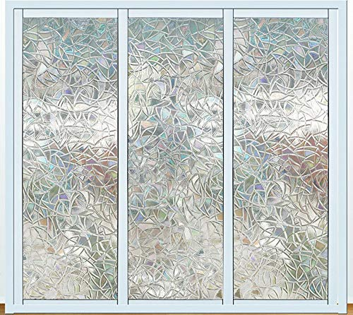 Bloss 3D Window Film Decorative Window Films Stained Glass Film Static Cling Window Film Window Cling No-Glue Heat Control Home Décor, 17.7 by 78.7 Inches by Bloss