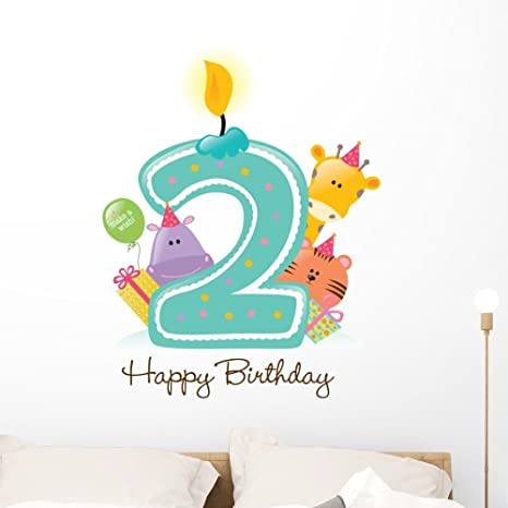 Amazon.com: Feliz cumpleaños vela y calcomanía de pared por ...