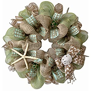 Chevron Beach Wreath with Real Starfish and Sand Dollars Handmade Deco Mesh 1