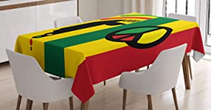 Ambesonne Rasta Tablecloth, Iconic Barret Reggae and Jamaican Music Culture with Peace and Borders, Dining Room Kitchen Rectangular Table Cover, 52