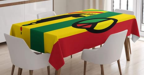 Amazon Com Ambesonne Rasta Tablecloth Iconic Barret Reggae And Jamaican Music Culture With Peace And Borders Rectangular Table Cover For Dining Room Kitchen Decor 60 X 90 Red Green Home Kitchen