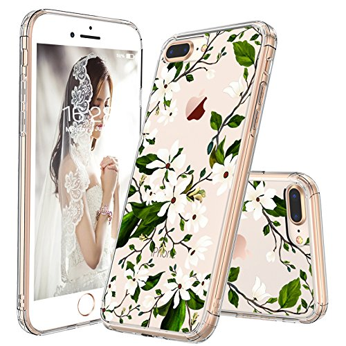 iPhone 7 Plus Case, iPhone 8 Plus Case Protective, MOSNOVO Floral Magnolia Flower Pattern Clear Design Transparent Case with TPU Bumper Case Cover for iPhone 7 Plus/iPhone 8 Plus