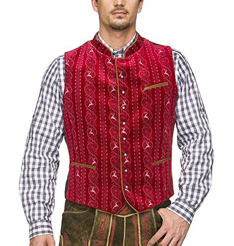 Stockerpoint Herren Trachtenweste Weste Antonio, Rot (Dunkelrot), X-Large (Herstellergröße: 54)